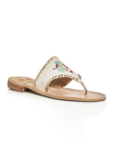 Jack Rogers Parrots Embroidered Thong Sandals