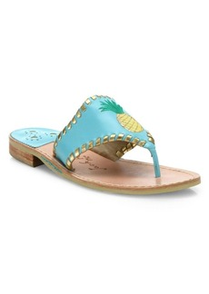 Jack Rogers Pineapple Leather Thong Sandals