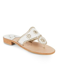 Jack Rogers Whipstich Leather Thong Slide Sandals
