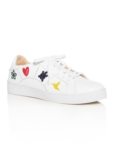 Jack Rogers Women's Kennedy Embroidered Leather Sneakers