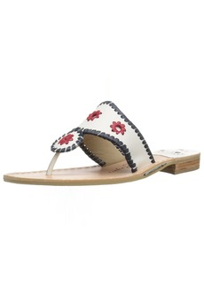 Jack Rogers Women's Patriotic Flat Sandal White/Navy/red