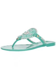 Jack Rogers Women's Striped Georgica Jelly Flat Sandal  6 Medium US