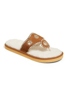 Jack Rogers Jacks Flip-Flop Slippers with Faux Shearling