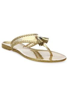 Jack Rogers Jr Alana Sparkle Whipstitch Jelly Tassel Thong Sandals