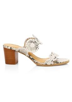 Jack Rogers Lauren Snake-Print Mid-Heel Slide Sandals