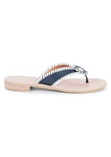 Jack Rogers Stitched-Trim Leather Sandals