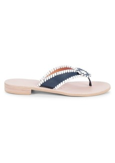 Jack Rogers Stitched-Trim Leather Sandals