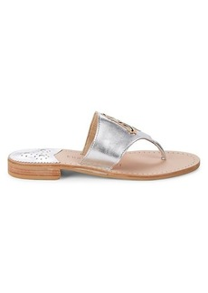Jack Rogers Virgo Metallic Leather Thong Sandals