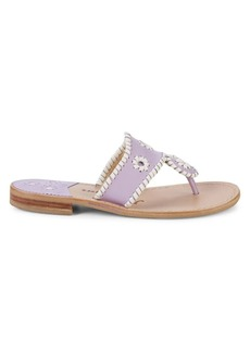 Jack Rogers Whipstitch Pattern Leather Sandals