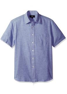 Jack Spade Men's Cliff Short Sleeve Horizontal Fine Stripe Point Collar Shirt