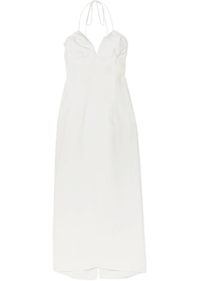 Jacquemus Bambino Linen Halterneck Midi Dress