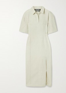Jacquemus Carro Cotton And Linen-blend Midi Shirt Dress