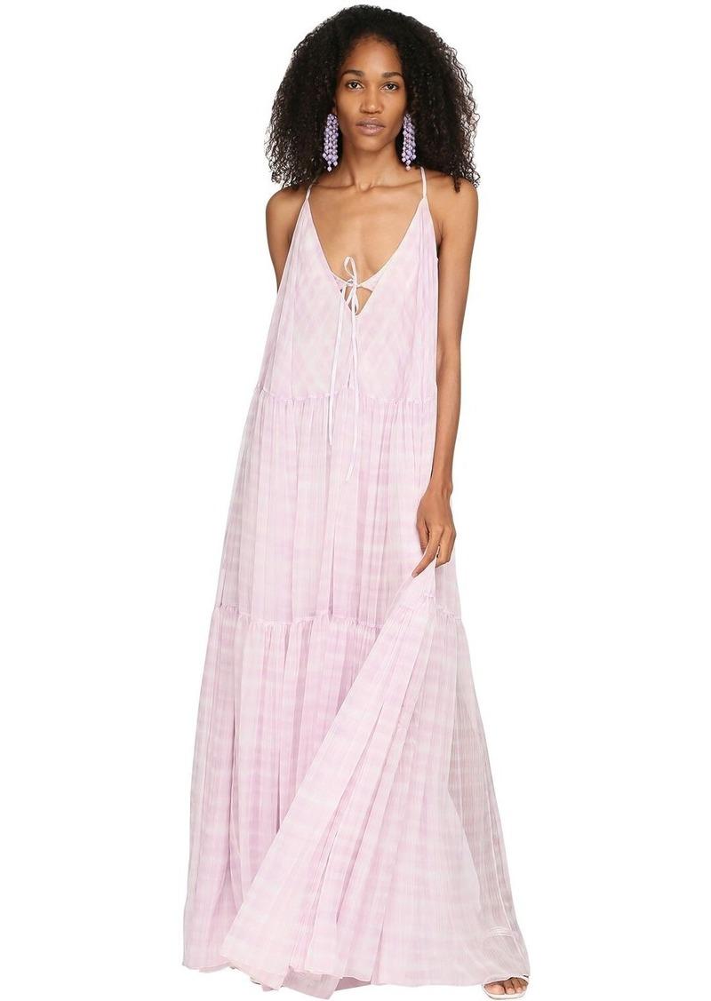 Jacquemus Check Printed Mousseline Maxi Dress