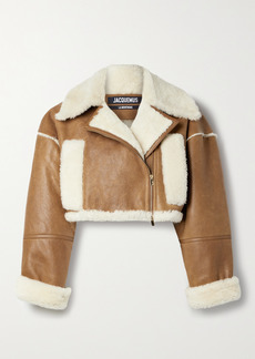 Jacquemus Cropped Textured-leather And Shearling Biker Jacket