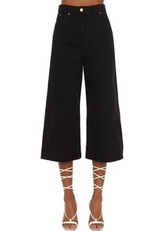 Jacquemus Cropped Wide Leg Cotton Denim Jeans