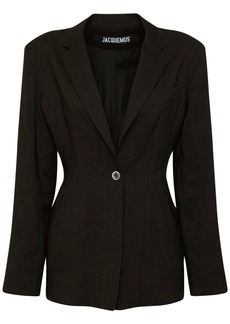 Jacquemus Fitted Wool Blend Suit Jacket