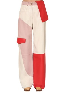 Jacquemus High Waist Patchwork Leather Cargo Pants