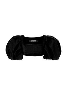 Jacquemus - Women's Camargue Puff-Sleeve Hemp-Blend Crop Top - Black/brown - Moda Operandi