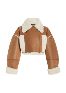Jacquemus - Women's Cropped Shearling-Lined Leather Jacket - Neutral - Moda Operandi