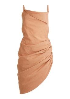 Jacquemus - Women's Saudade Asymmetric Draped Hemp-Blend Mini Dress - Brown/black - Moda Operandi