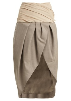Jacquemus Asymmetric draped wool wrap skirt