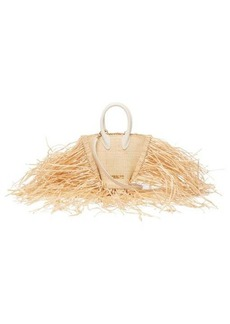 Jacquemus Baci fringed straw and leather bag