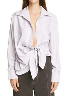 Jacquemus Bahia Drape Long Sleeve Shirt
