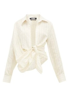 Jacquemus Bahia knotted striped linen shirt