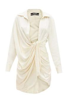 Jacquemus Bahia plunge-neck knotted twill mini dress