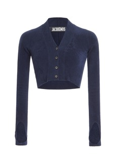 Jacquemus Cropped Brushed Stretch-Knit Cardigan