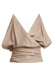 Jacquemus Drape-front wool top