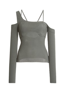 Jacquemus Figuerolles Cold-Shoulder Stretch-Knit Top