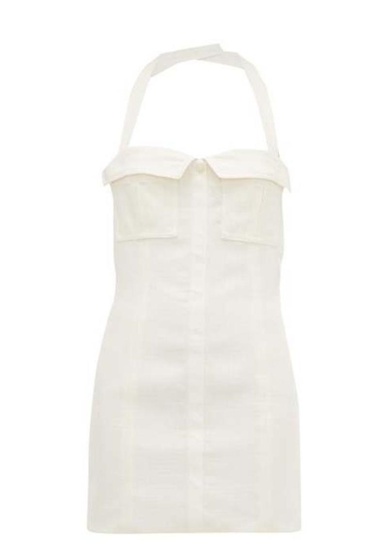 Jacquemus Halterneck cotton-canvas mini dress