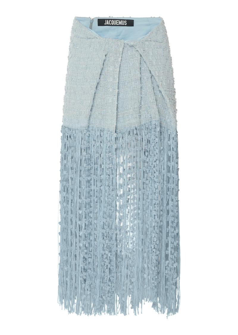 Jacquemus La Jupe Capri Fringed Linen-Blend Midi Skirt