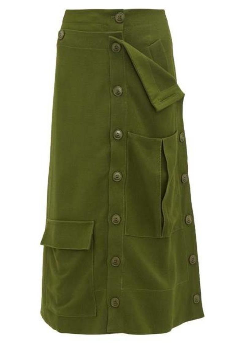 Jacquemus Monceau patch-pocket canvas midi skirt