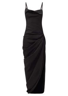 Jacquemus Saudade draped hemp-blend dress