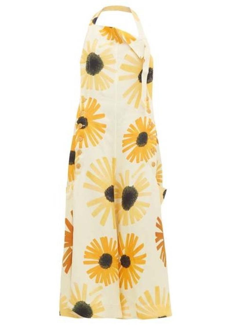 Jacquemus Tablier sunflower-print open-back apron dress