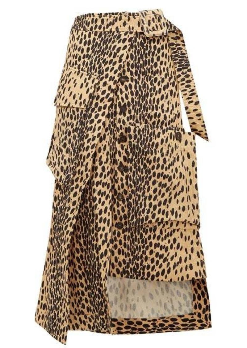 Jacquemus Thika leopard-print cotton midi skirt
