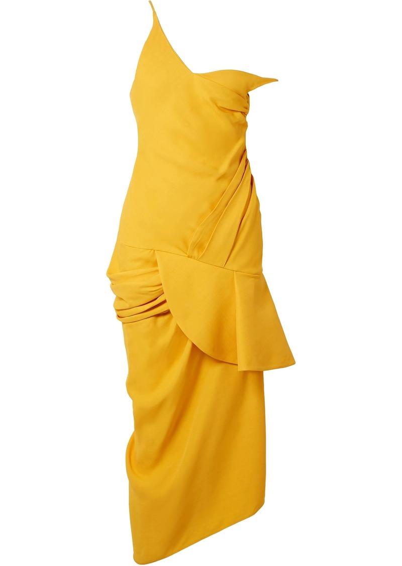 Jacquemus Woman La Robe Sol Off-the-shoulder Ruffled Canvas Midi Dress Marigold