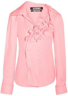 Jacquemus Woman Seville Ruffled Cotton-poplin Shirt Baby Pink