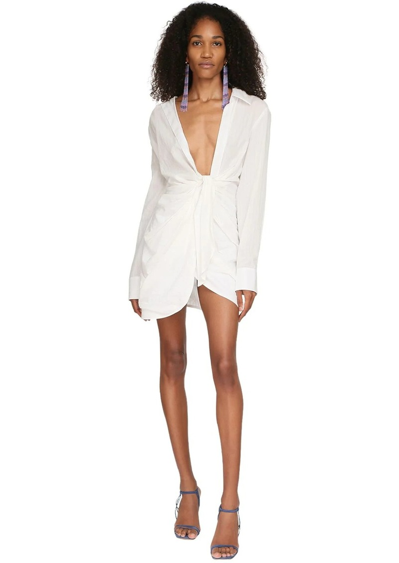 Jacquemus La Robe Bahia Draped Cotton Shirt Dress