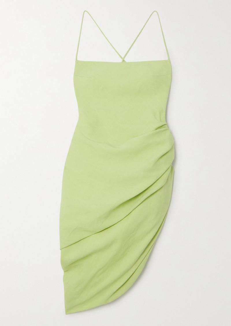 Jacquemus La Robe Saudade Gathered Canvas Mini Dress