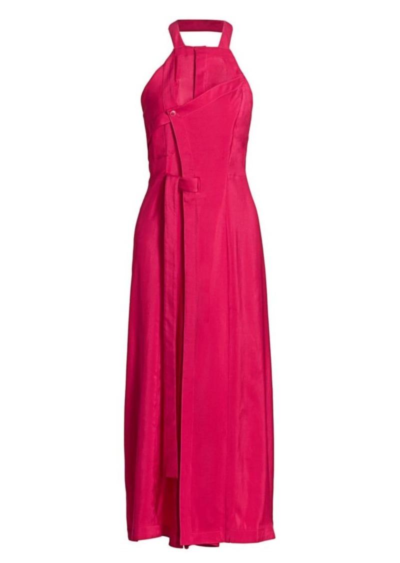 Jacquemus Marco Stretch-Silk Halterneck Tie Dress
