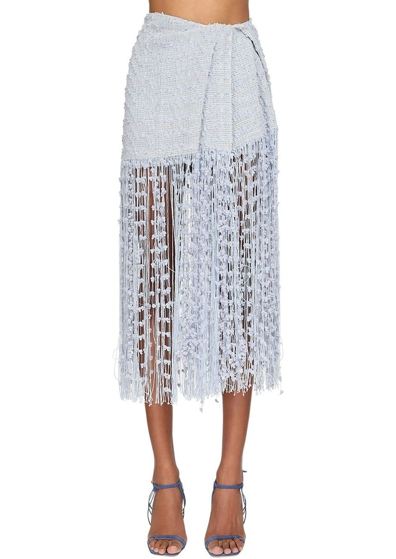 Jacquemus Pompom Fringed Asymmetric Tweed Skirt