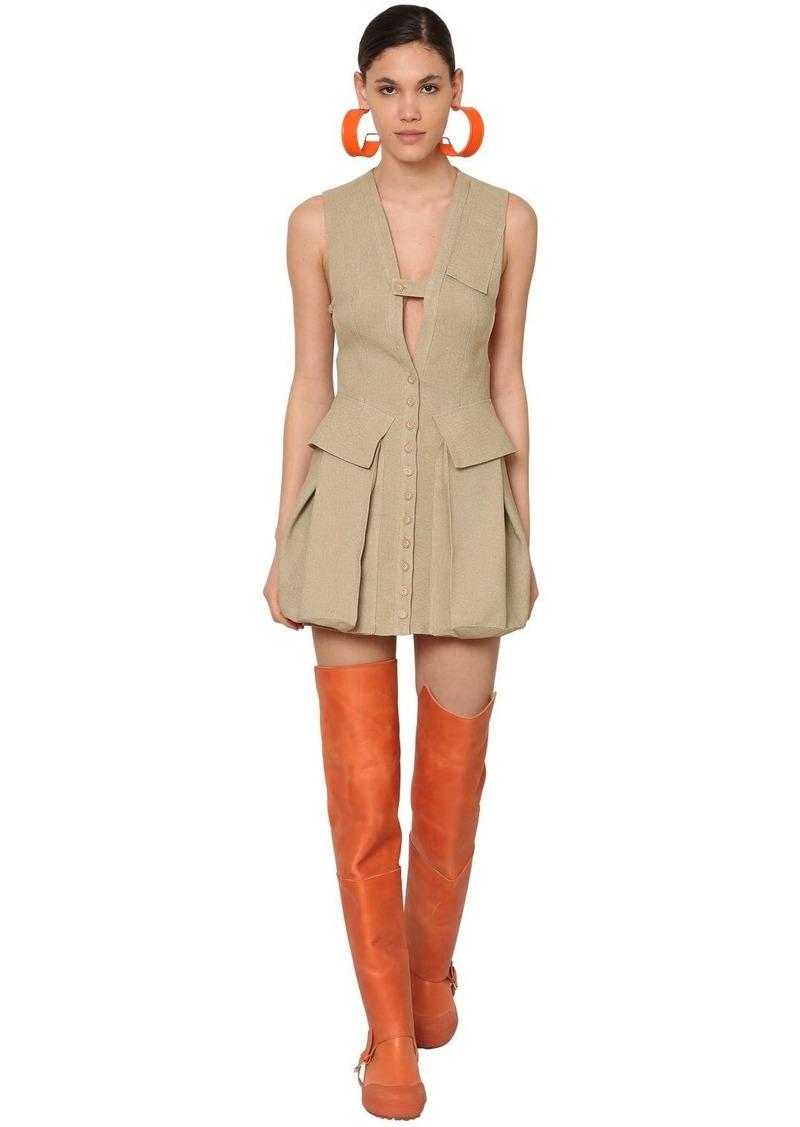 Jacquemus Raw Silk Canvas Mini Dress