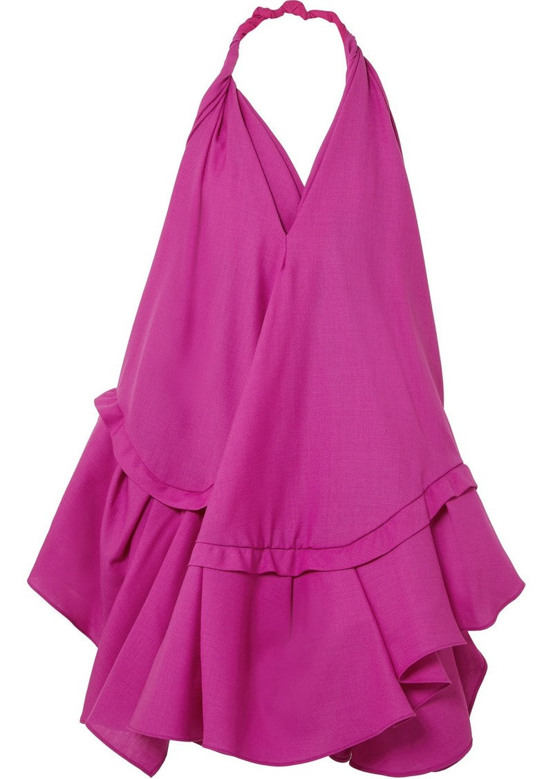 Jacquemus Rosa Open-back Asymmetric Wool Halterneck Dress
