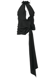 Jacquemus ruffled cut out halter top