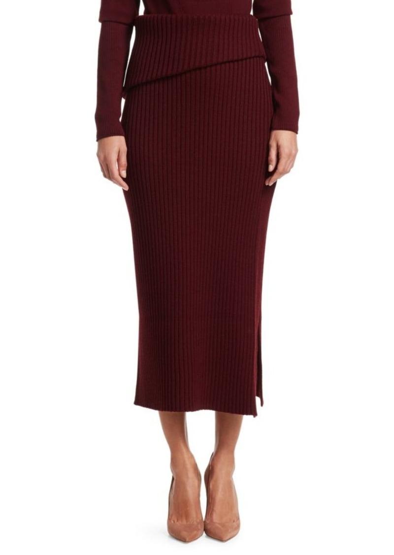 Jacquemus Sadhia Rib-Knit Side Slit Pencil Skirt