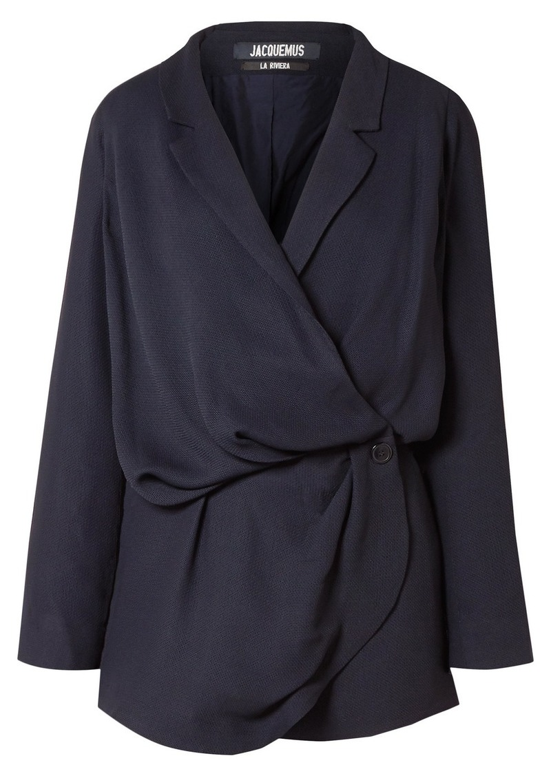 Jacquemus Sisco Double-breasted Woven Mini Wrap Dress