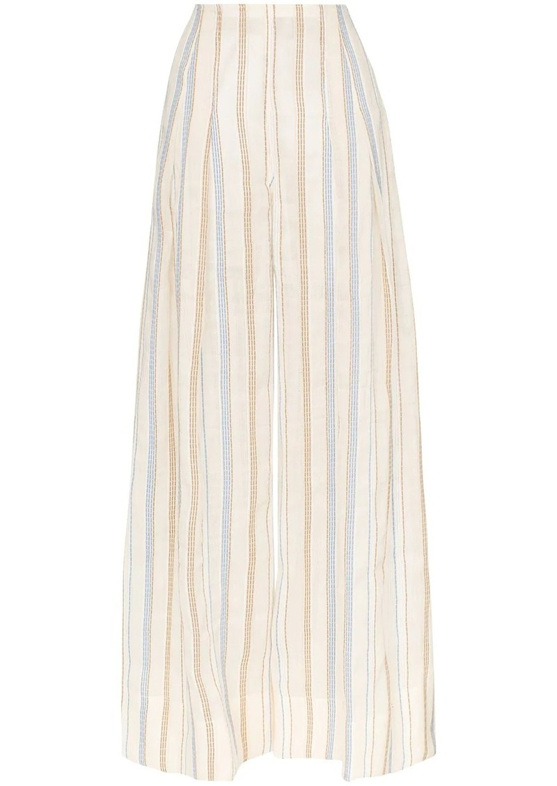 Jacquemus stripe embroidered high waisted wide leg trousers
